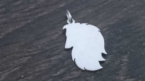 Sheltie head Charm silhouette solid sterling silver Handmade in the Uk